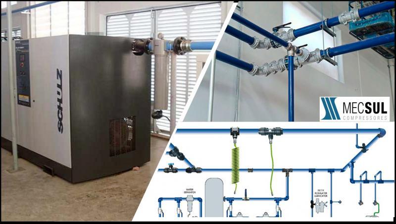 Instalação de rede de ar comprimido